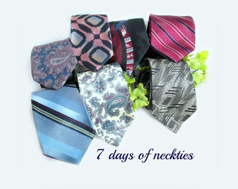vintage tie lot, Business tie, men's gift, long tie, 7 Ties,      # 150