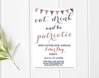Labor Day BBQ, Labor Day Party, Labor Day, BBQ Invitation, American Flag, Summer BBQ Invitation, Summer Party, Labor Day Invites [261]