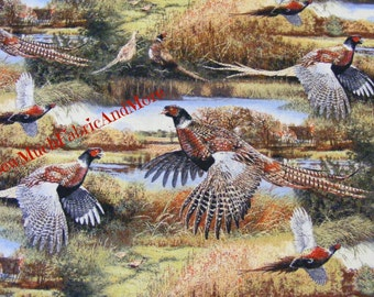 Pheasants in Flight Scenic Fabric~By the yard~Feathered Run~Countryside~Wildlife~Farm~Springs Creative~59995