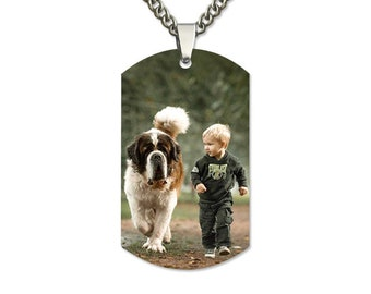 Color Photo Dog Tag, Engraved Necklace, Custom Engraved Picture, Personalized Couples Necklace, Memorial, Personalized Gifts, Photo Necklace