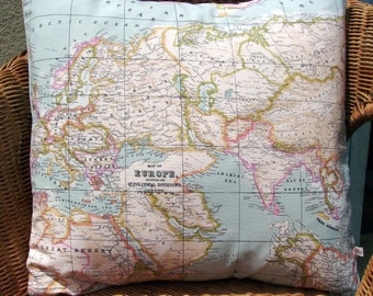 """map pillow covers, 18"""" pair, as seen in Marie Claire, decorative pillow, travellers gift, map pillow, world map pillow, blue pillow"""