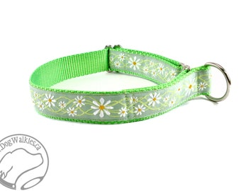 """Summer Sage Green Daisy Dog Collar - 1"""" Wide (25mm) Wide - Choice of style and size - Martingale or Side Release - Mint // Daisies // Pastel"""