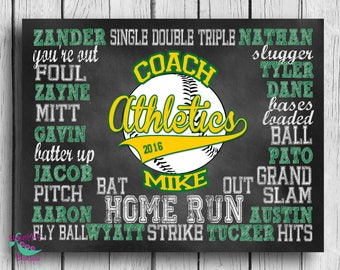 Customized BASEBALL coach gift, DIGITAL IMAGE,personalized baseball gift, baseball subway art, coach art, coach print, chalkboard art
