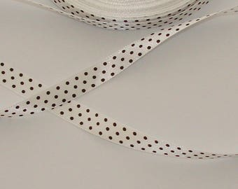 5 m white with black dots 9.8 mm satin ribbon