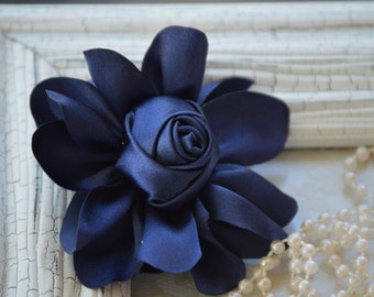 """Satin Fabric Roses, Rolled Rosettes, Navy Blue Satin Rolled Rosettes, 3"""" Satin Roses, Rolled Roses, Rolled Satin Roses, A3"""