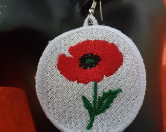 Embroidered Poppy Flower Earrings Accessories
