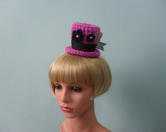 Pink Crochet Mini Top Hat with Black Flowers