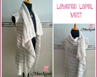 Layered lapel vest pdf crochet pattern ( size S - 3XL )