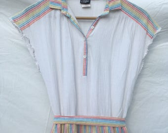 Size 12/14 Cute 1980s Rainbow cheesecloth dress