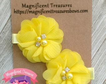 Yellow hair flower etsy light yellow chiffon flower hair clips spring summer flower hair clippies toddler barrettes rhinestone and pearl flowers baby clip mightylinksfo