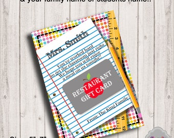Teacher Gift Card Holder - TeachBTS004 - Restaurant Printable, Back to School, Teachers First Day Gift