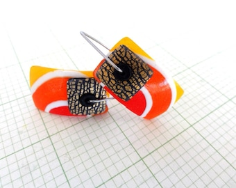 "Disk Earrings ""Orange Crush"" by Marie Segal 2016, stainless steel wires and new design"