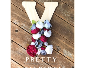 Pretty & Patriotic Floral Wooden Letter// 4th of July Decor// Independence Day Decorations