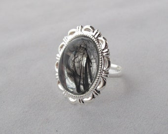 Black & Silver Swirl Acrylic Ring on silver-tone adjustable band