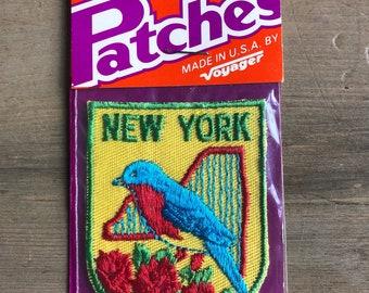 vintage travel patch New York bluebird embroidered Voyager Emblems NIP