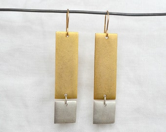 Rectangle Tag Earring, Gold/Silver