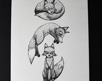 THE 3 FOXES original graphic Illustration ink on paper 200 g/m2 KriSoft