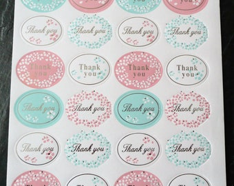 """Set of 96 stickers thank you """"Thank you"""" Silver 32 x 25 mm"""