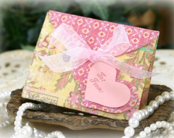 Pink Mother's Day Gift Card Holder Box Set - FREE Shipping Baby Shower Gift Bag, Party Favor or Wedding Gift Wrap, by handmadewithlove13