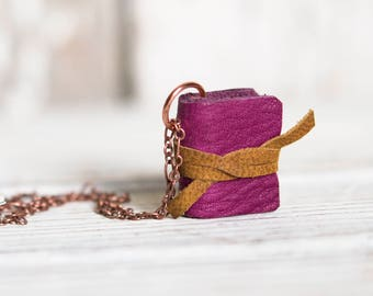 Leather Book Necklace Shades of Red, Book Lover, Mini Book Jewelry, Tiny Book, Gift for Mom, Miniature Book, Gift for Her, Fairytale Gift