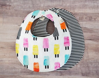 Watercolor Popsicles Reversible Cotton and Black Stripe Snapable Baby Bib
