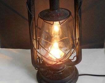 PAULLS Lantern,Vintage Electrified Lantern,PAULL'S Kerosene Lantern,Old Electrified Lantern,Barn Lantern,Kerosene Lantern, Restaurant Decor
