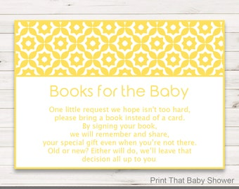 Baby Shower Invitation Insert - Books For Baby, Baby Shower Inserts, Printable Invitation Insert, Books For The Baby Card, Yellow Geometric