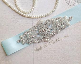 Aqua bridal sash, Wedding dress sash-wedding Sash Belt-Pearl Crystal Sash-Rhinestone belt -Aqua Bridal Belt -Bridal Sash-Blue wedding Sash