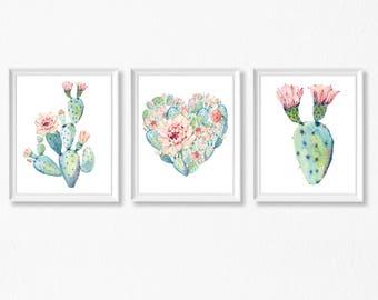 Cactus Art Printable, Printable Downloads, Cactus Wall Art Print, Cactus Art, Set of 3 Watercolor Cactus Prints, Cacti Print, Succulent, N04