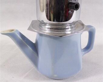 Vintage Blue ceramic coffee pot and 2 chrome cups Pegasus vintage France vintagefr vintage dishes vintage kitchen