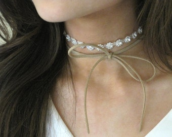 Layered Suede Choker, Rhinestone Choker, Crystal Choker, Sparkly Necklace, Bow Necklace, Gift for Her, SEVENTEEN Suede Colors