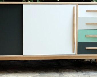 sideboard Scandinavian style 2 sliding doors 4 drawers