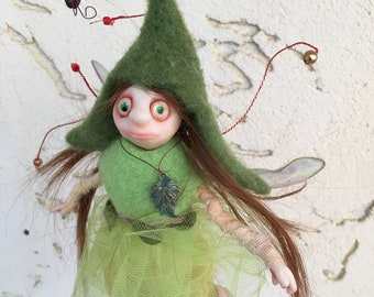 Green Pixie fairy, Ready to Ship, Fantasy Figurine, Poseable tiny fairy doll, Needle felted Soft sculpture, OOAK art doll, Polymer clay doll