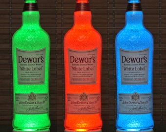 Dewars White Label Scotch Whiskey Remote Control Color Change LED Bottle Lamp Man Cave Bar Light Bodacious Bottles