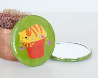 Tabby Cat in Flower Pot Pocket Mirror, Yellow & Orange Cat Compact Mirror, Cat Travel Mirrors, Kitty Beauty Accessories, Travel Accessories