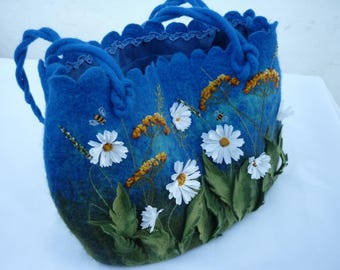 Blue bag camomile summer bag Blue Tote Bag  felted bag womens purse chamomile with daisy flowers handmade bag shoulder bag large tote bag