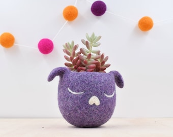 Dorm decor / Succulent planter / Dog lover gift for her / Cactus planter gifts / dog  / Small succulent pot / purple planter