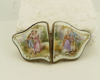 Antique 1900's Hand Painted Porcelain Belt Buckle, Gilt Brass w/ Transfer Scenes of 18th Century Style Figures.