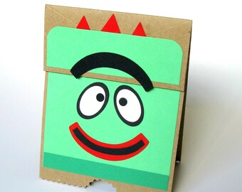Silly Monster Card, Cute Monster, Bropee, Yo Gabba Gabba, Paper Bag Puppet Card, Child Birthday, Monster Card, Child for Card, Puppet Card