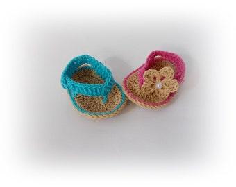 Baby Flip Flops Baby Sandals Blue pink baby sandal Crochet Baby Flip Flops Boy flip flops Girl's Baby Shoes Crochet Sandles Boy Girl Sandles