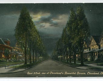 East 82nd Street at Night Cleveland Ohio 1910c postcard