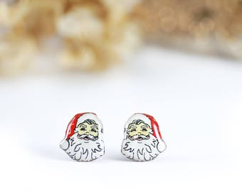 Santa Claus earrings , Santa jewelry , Santa studs , Christmas earrings , Holidays earrings , Holidays jewelry , Christmas jewelry ,