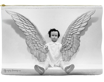 Christmas Angel Cosmetic Clutch Zip Accessory Bag Makeup Bag Cosmetic Pouch  Makeup Bag Travel Case Gift for Her Gift Under 20 Black White