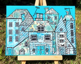 Wonky Houses - Original Mixed Media Art