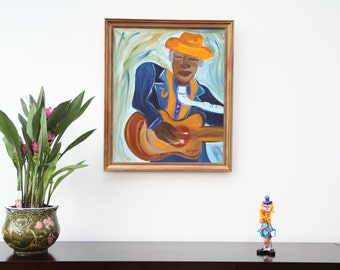 Framed oil painting _ guitarist painting