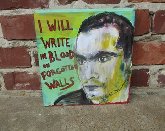 Henry Rollins mixed media art on salvaged wood, Rollins band, Henry Rollins quote, spoken word poetry, Henry Rollins portrait, punk rock art