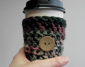 Coffee Cup Sleeve Cozy Take Out Coffee Cup Sleeve Cozy Crocheted Coffee Cup Sleeve Cozy Burgundy Coffee Cup Sleeve Green Take Out Cup Sleeve