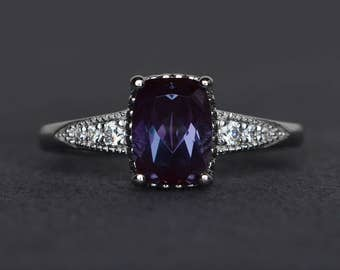 alexandrite ring cushin cut engagement ring gemstone ring sterling silver ring June birthstone ring anniversary ring