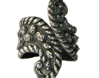 Vintage Mexican Sterling Silver Clamper Bangle Bracelet