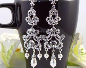 Bridal Chandelier Earrings Wedding Earrings Swarovski Pearl Crystal Rhinestone Earrings Dangle Drop Clear Crystals Vintage Style Bridal ZARA